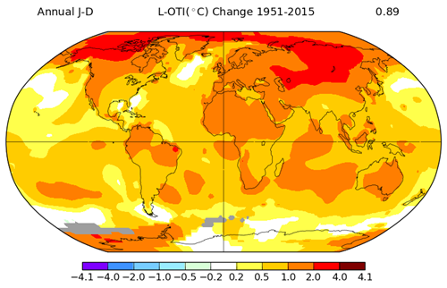 NASA GISS Annual Global Temp Trend 1951-2015.png